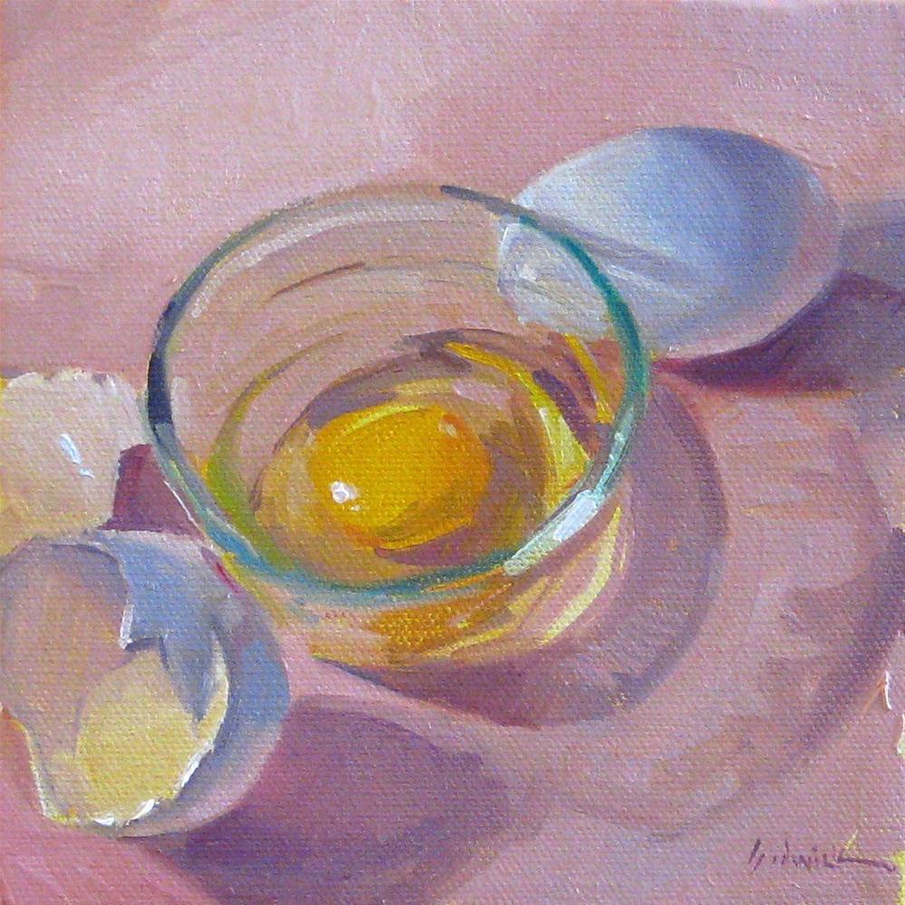 """Breakfast Egg kitchen art food painting still life oil on canvas"" original fine art by Sarah Sedwick"