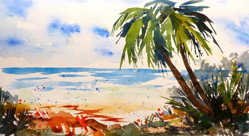 """Caribbean View"" original fine art by Judith Freeman Clark"