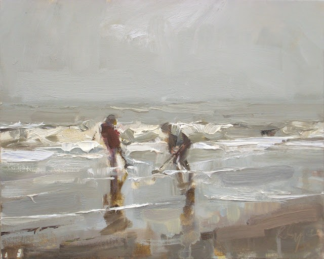 """Seascape winter #28 Grey day Surf and Children"" original fine art by Roos Schuring"