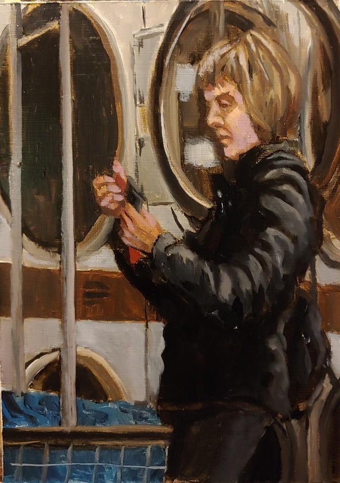 """""""Laundromat -1 Finished"""" original fine art by Edward Watson"""