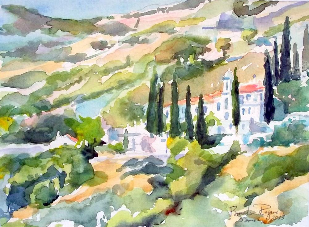 """Holly Cross Monastery, Samos"" original fine art by Pamela Jane Rogers"