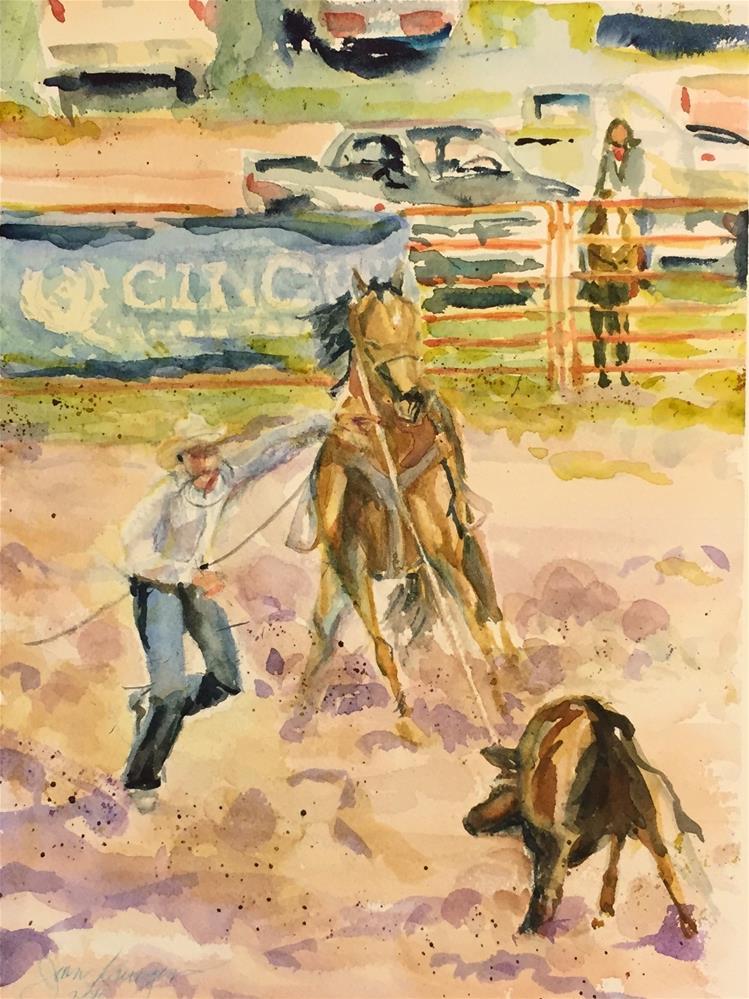"""Calf Roping - Westcliffe, CO"" original fine art by Jean Krueger"