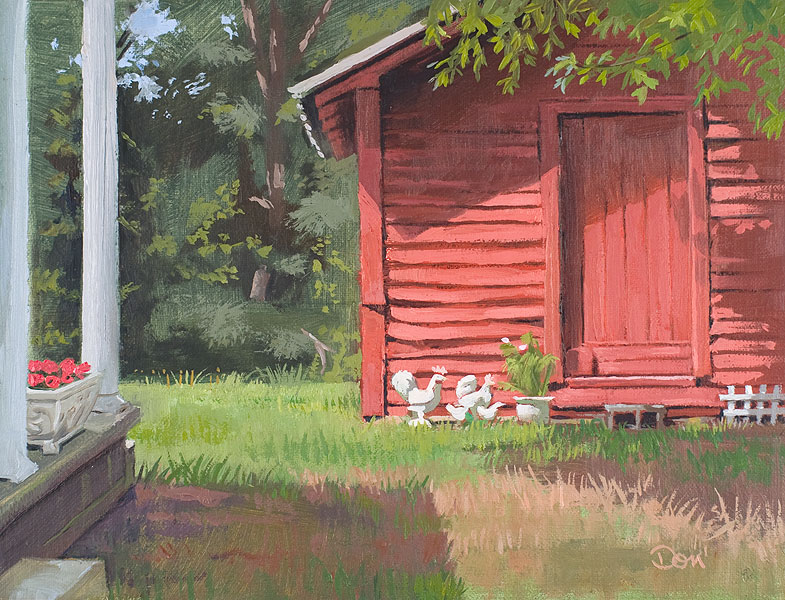 """No Shade for Chickens"" original fine art by Don Stewart"