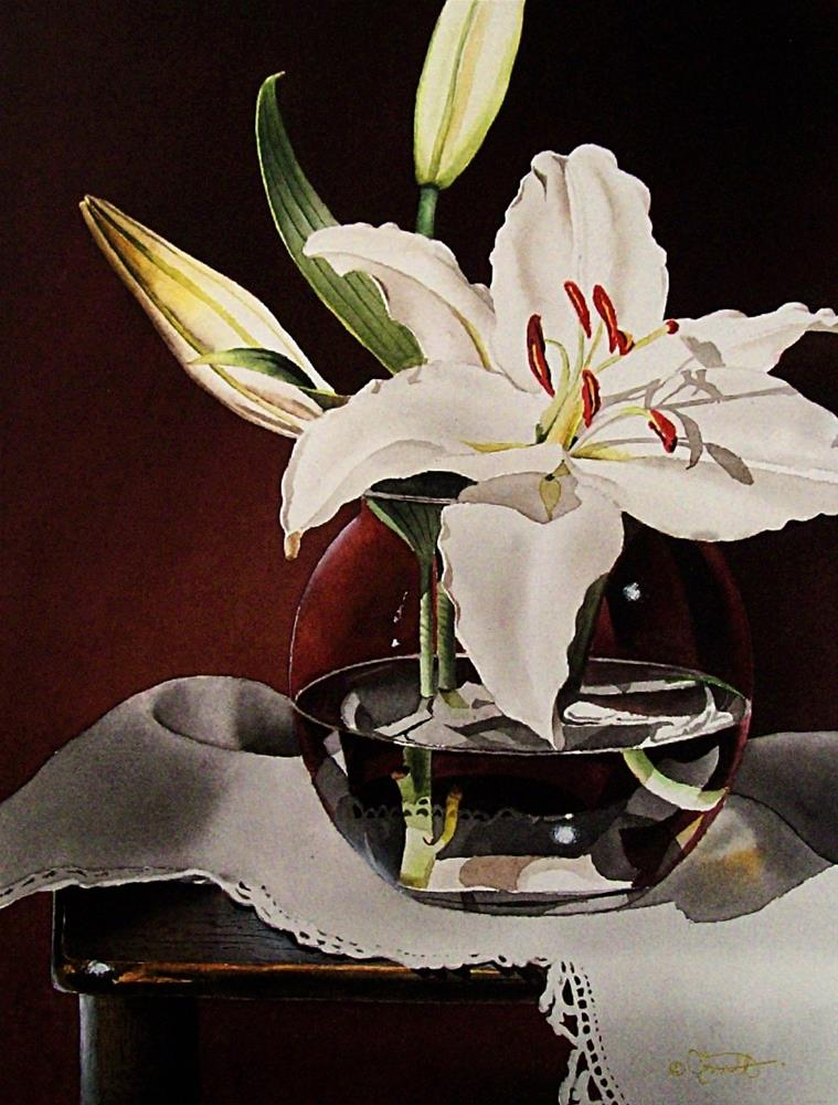 """""""Still Life with White Mountain Lily"""" original fine art by Jacqueline Gnott, TWSA, WHS"""