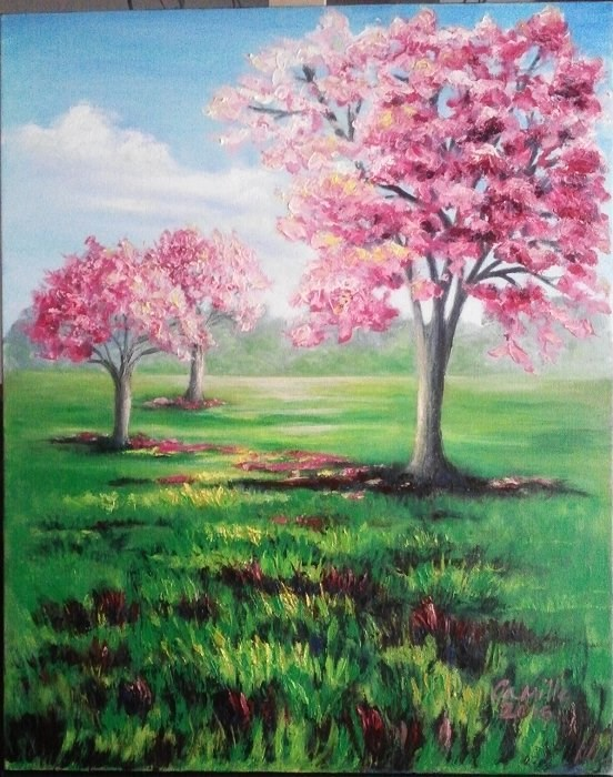 """Pink Trees Landscape"" original fine art by Camille Morgan"