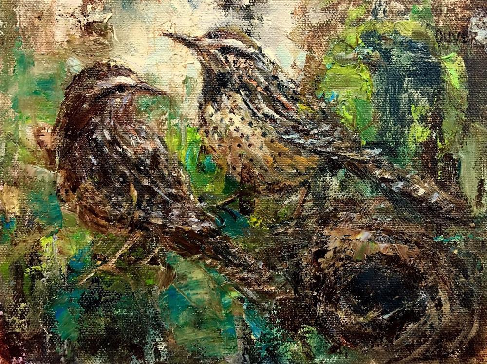 """""""Cactus Wrens"""" original fine art by Julie Ford Oliver"""