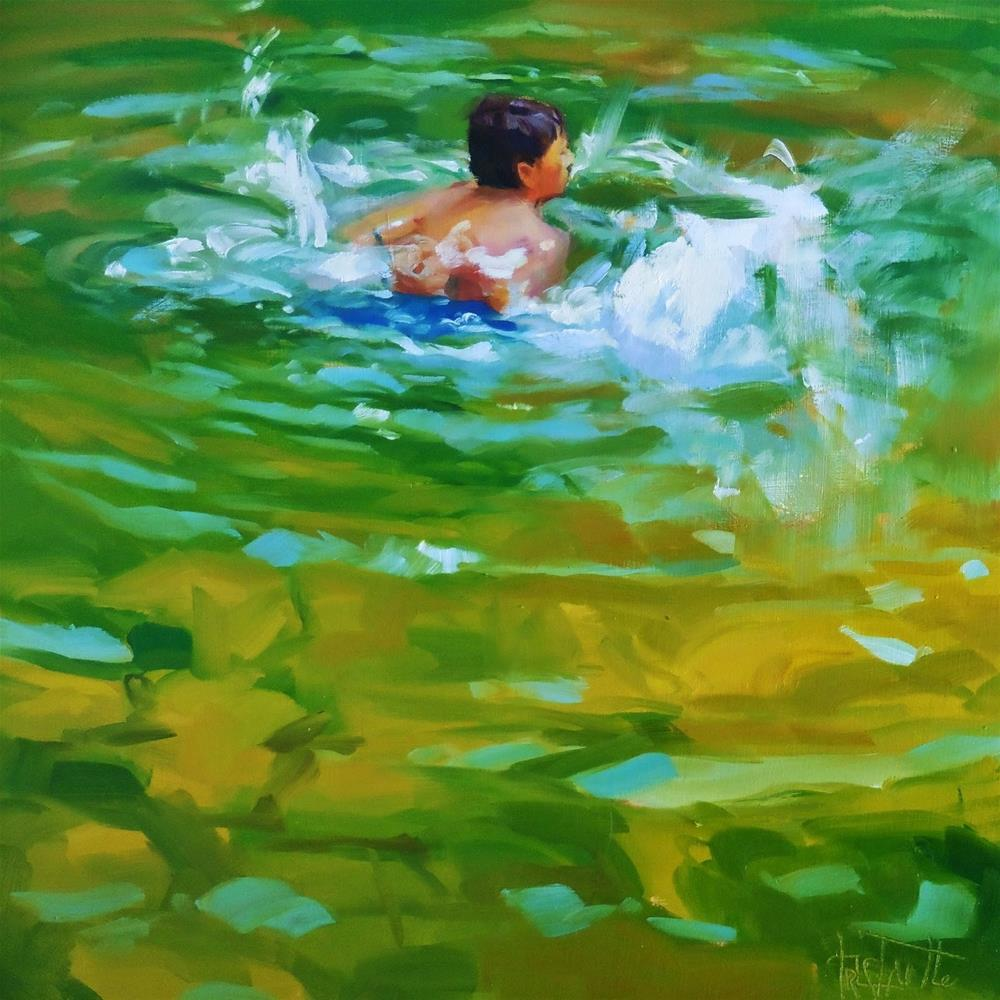 """Swimming"" original fine art by Víctor Tristante"