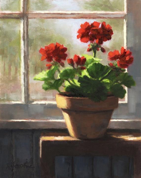 """Geraniums by the Window"" original fine art by Linda Jacobus"