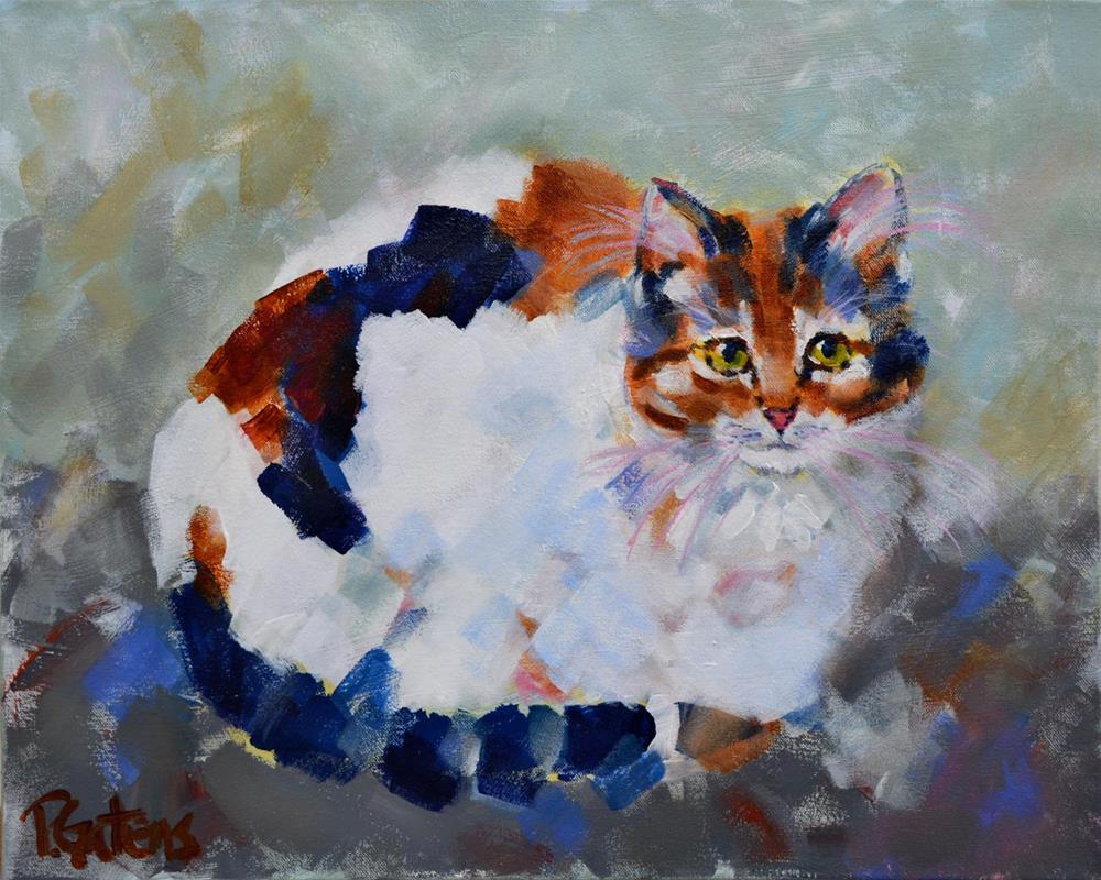 """""""Patio Calico"""" original fine art by Pamela Gatens"""