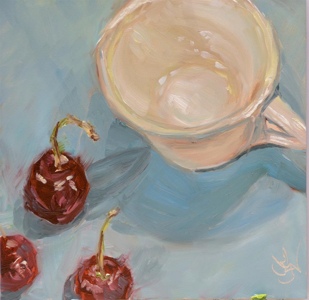 """Cuppa Cherries"" original fine art by Jan Jackson"