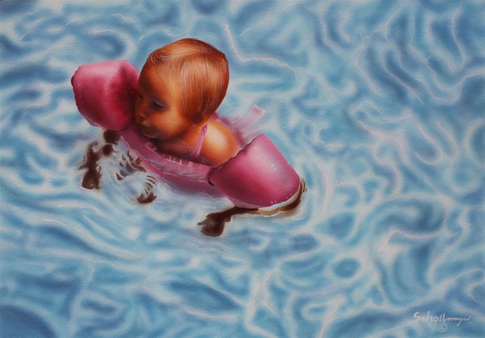 """""""First Swim"""" original fine art by Fred Schollmeyer"""