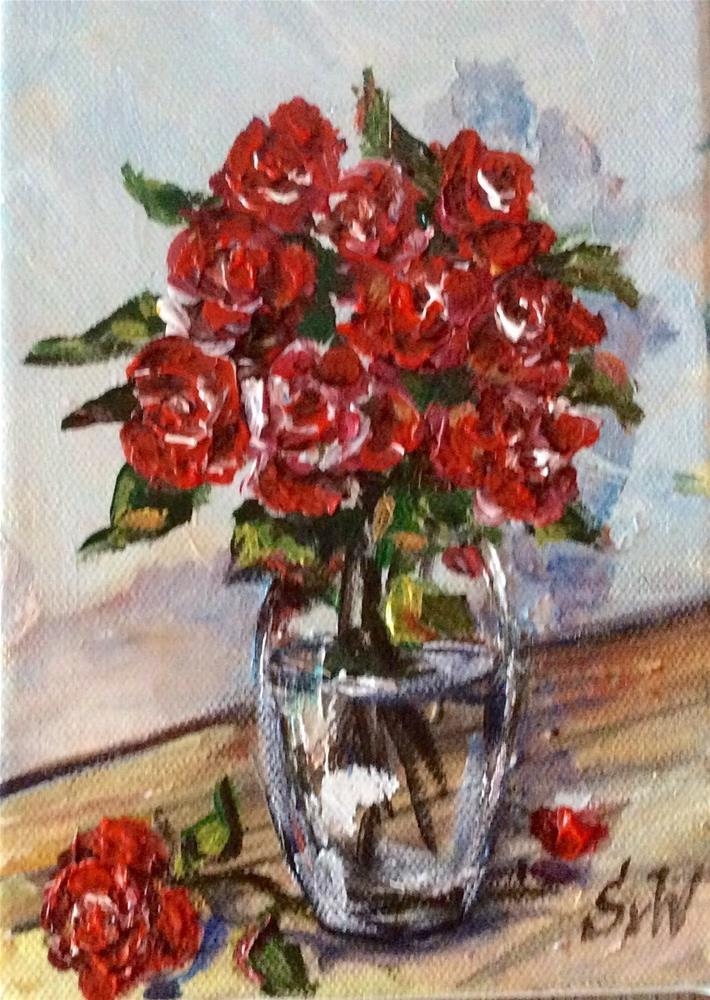 """Red roses still life"" original fine art by Sonia von Walter"