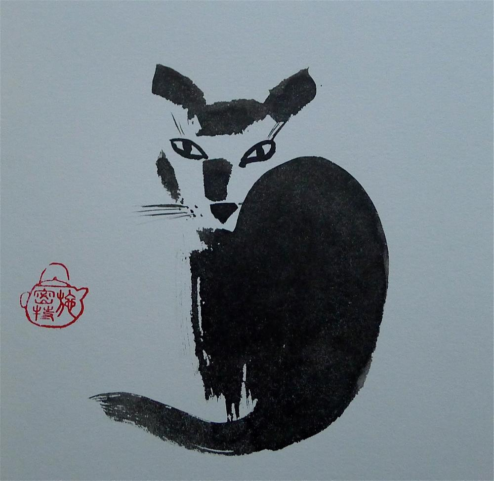 """Cat - looking back"" original fine art by Ulrike Schmidt"
