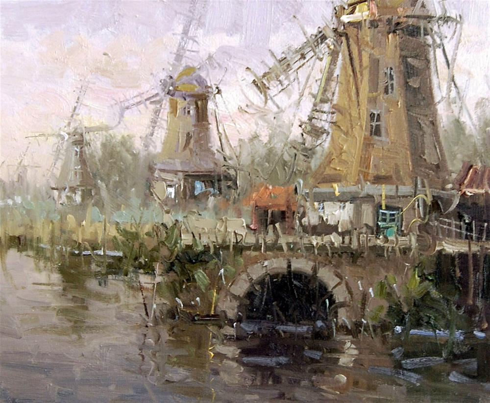 """WINDMILLS IN THE NETHERLAND"" original fine art by Mostafa Keyhani"