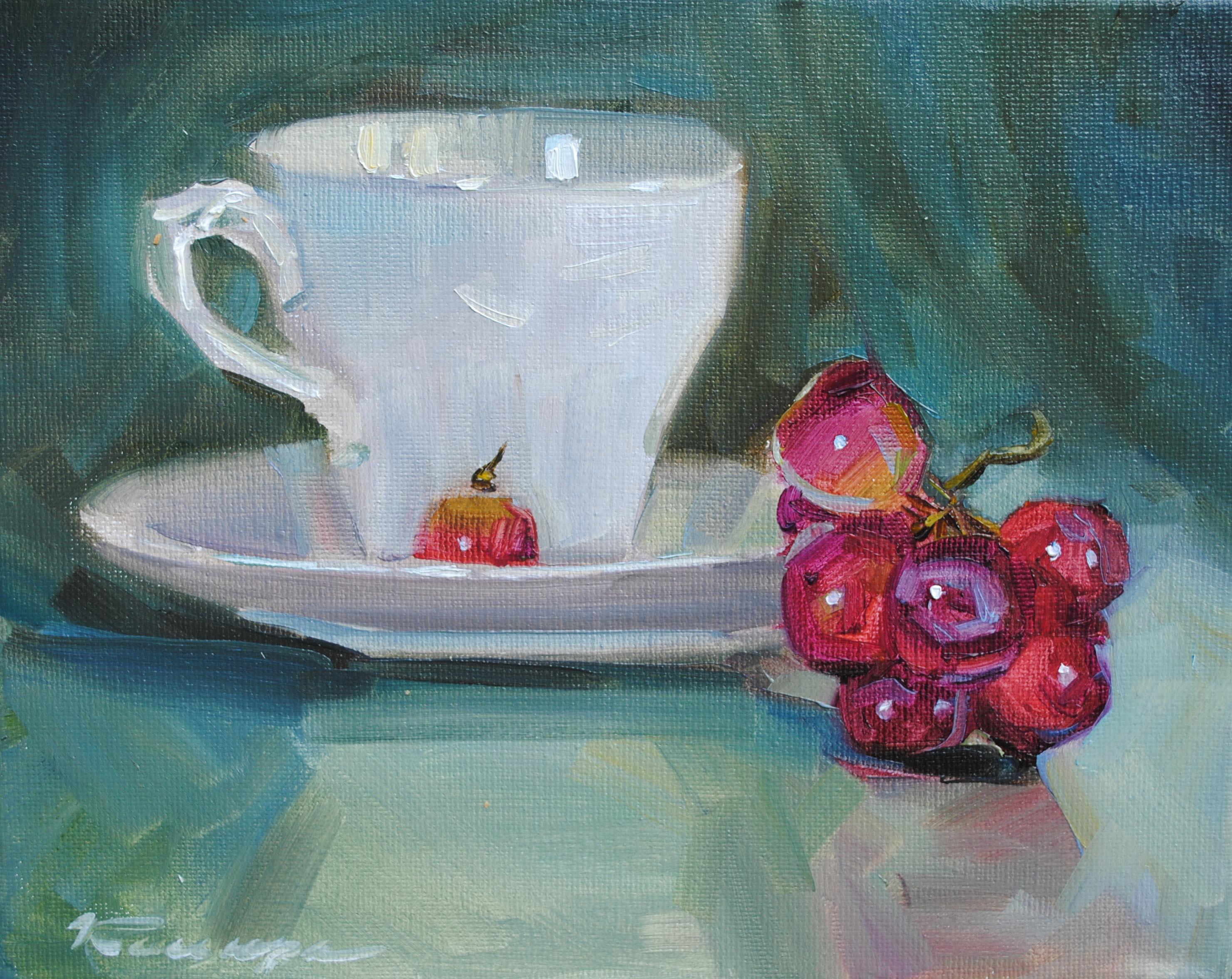 """White Cup"" original fine art by Elena Katsyura"