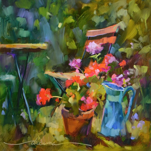 """""""You Must Come to My Garden"""" original fine art by Dreama Tolle Perry"""