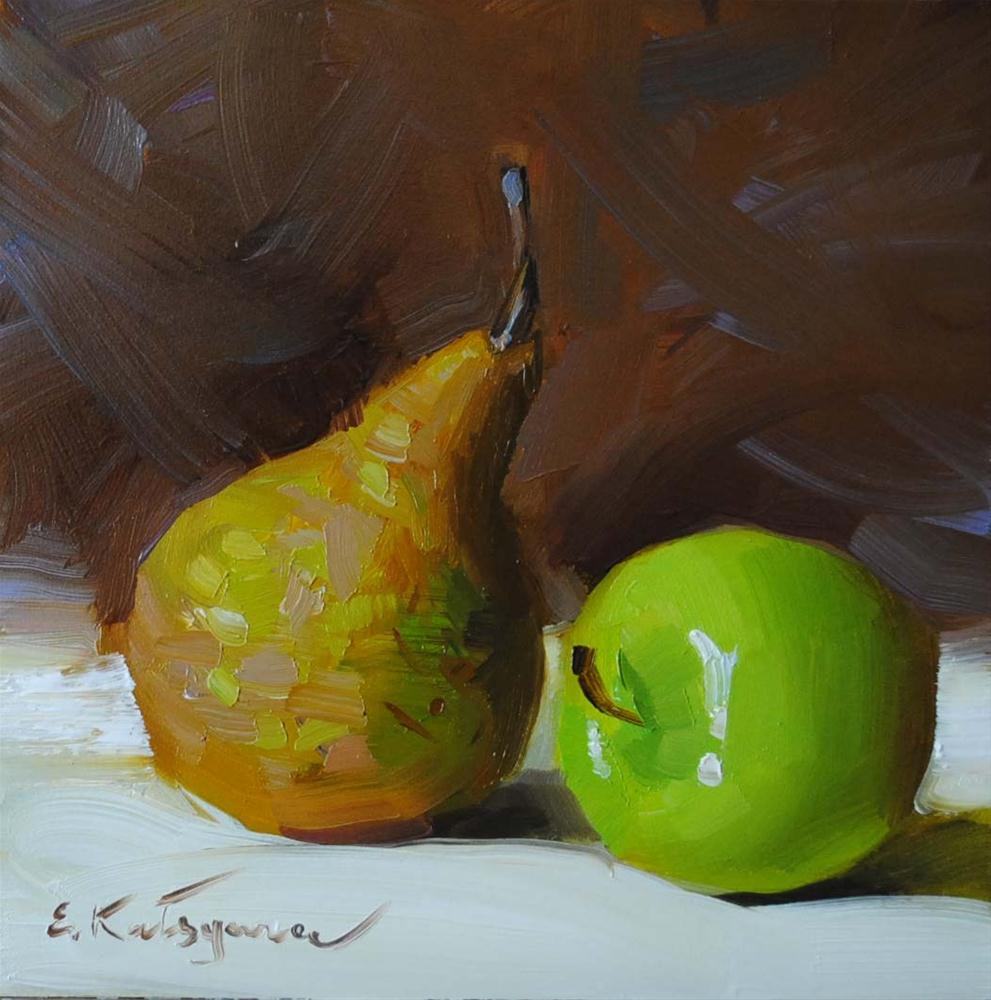 """Pear and Apple"" original fine art by Elena Katsyura"