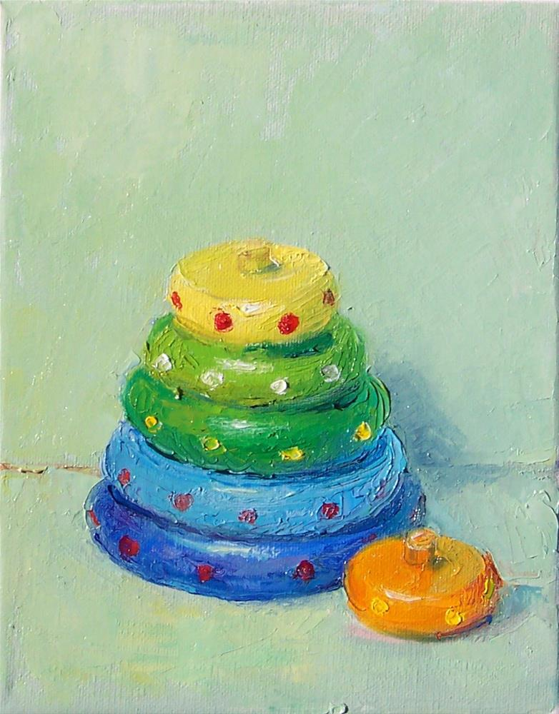 """""""Old Wooden Stacking Toy,still life,oil on canvas,10x8,price$200"""" original fine art by Joy Olney"""