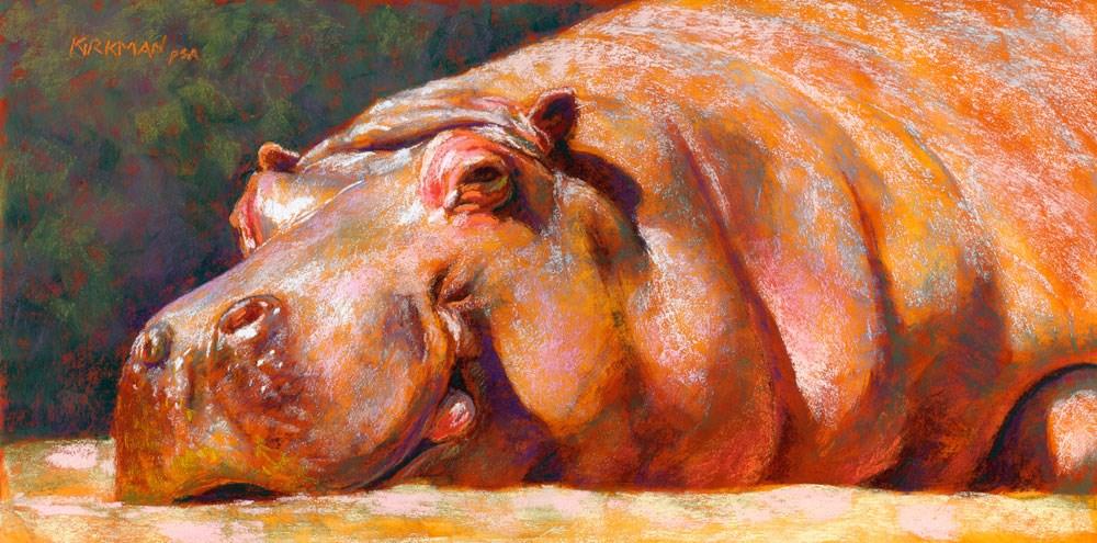 """H is for Hippo"" original fine art by Rita Kirkman"