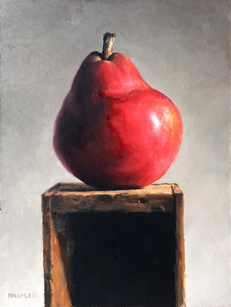 """Red Pear Pedestal"" original fine art by Michael Naples"