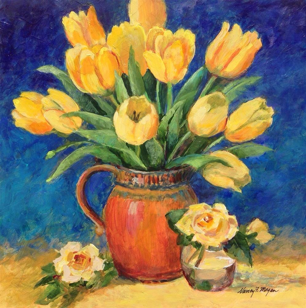 """Tulips and Roses"" original fine art by Nancy F. Morgan"