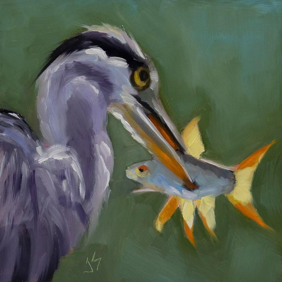 """""""Caught!"""" original fine art by Johnna Schelling"""