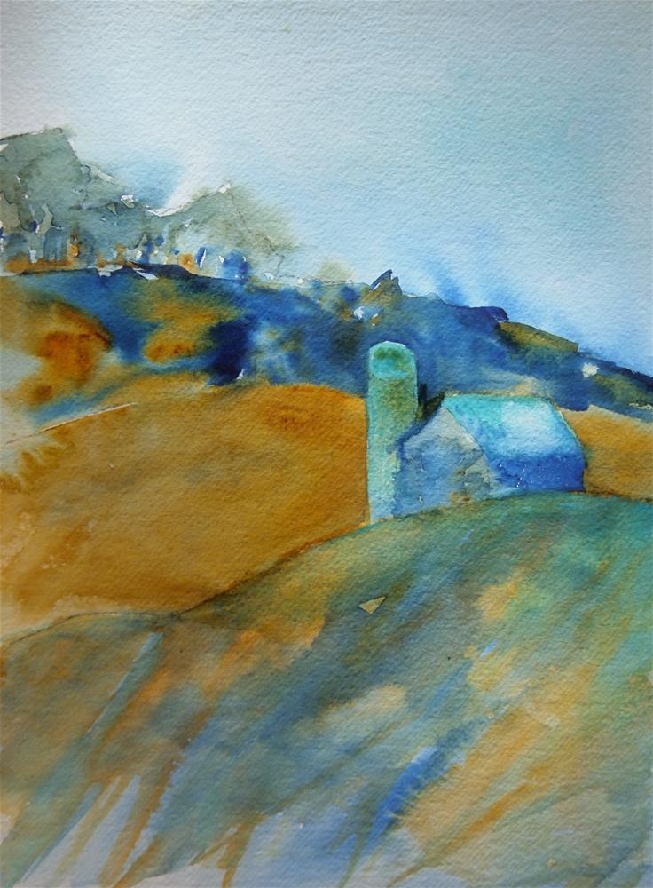 """Blue Barn and Silo"" original fine art by Amy Bryce"