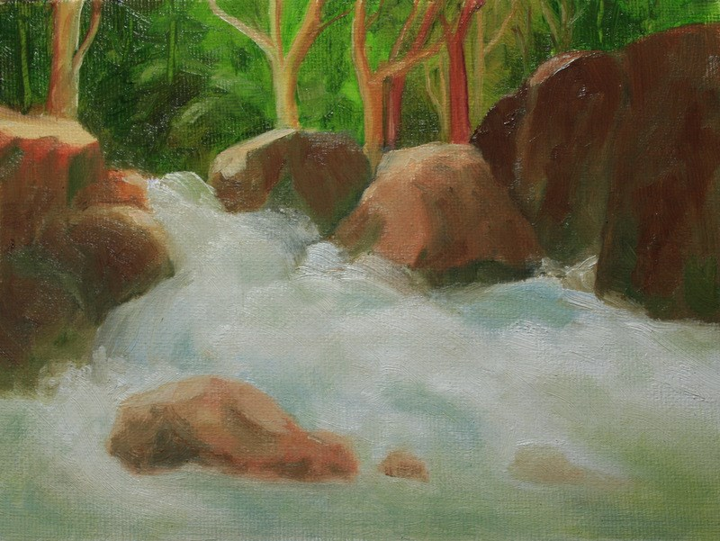 """Boulders and White Water"" original fine art by Jean Nelson"