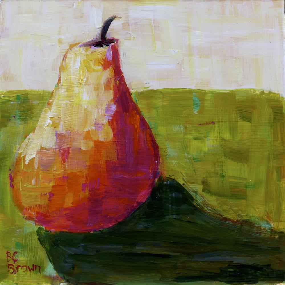"""Still life pear with green"" original fine art by Beth Carrington Brown"