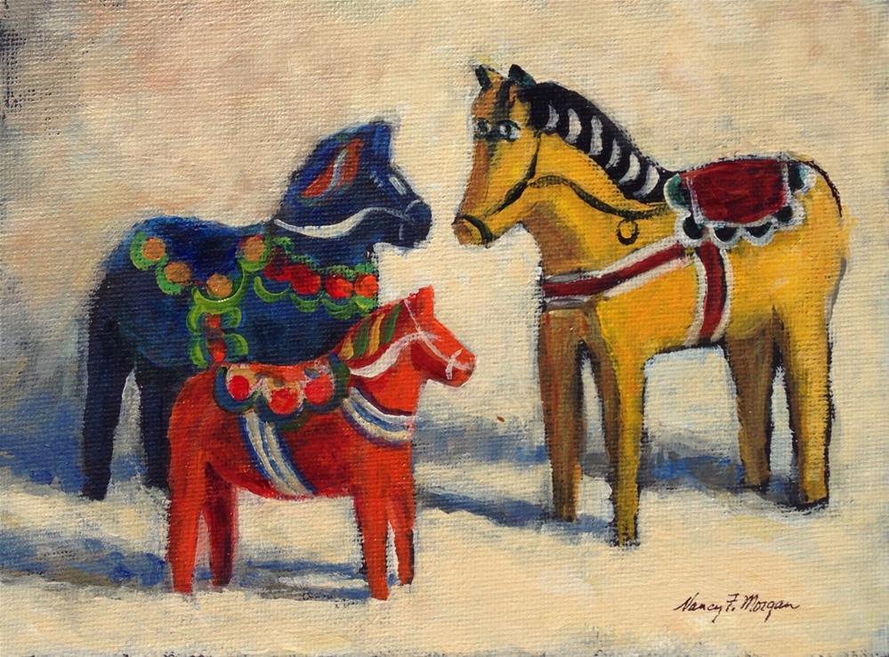 """""""Leksand Meets Mora"""" original fine art by Nancy F. Morgan"""