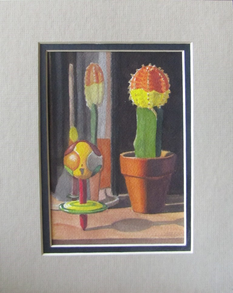 """""""55 - Top, Cactus and Puzzle Ball"""" original fine art by Edward Watson"""