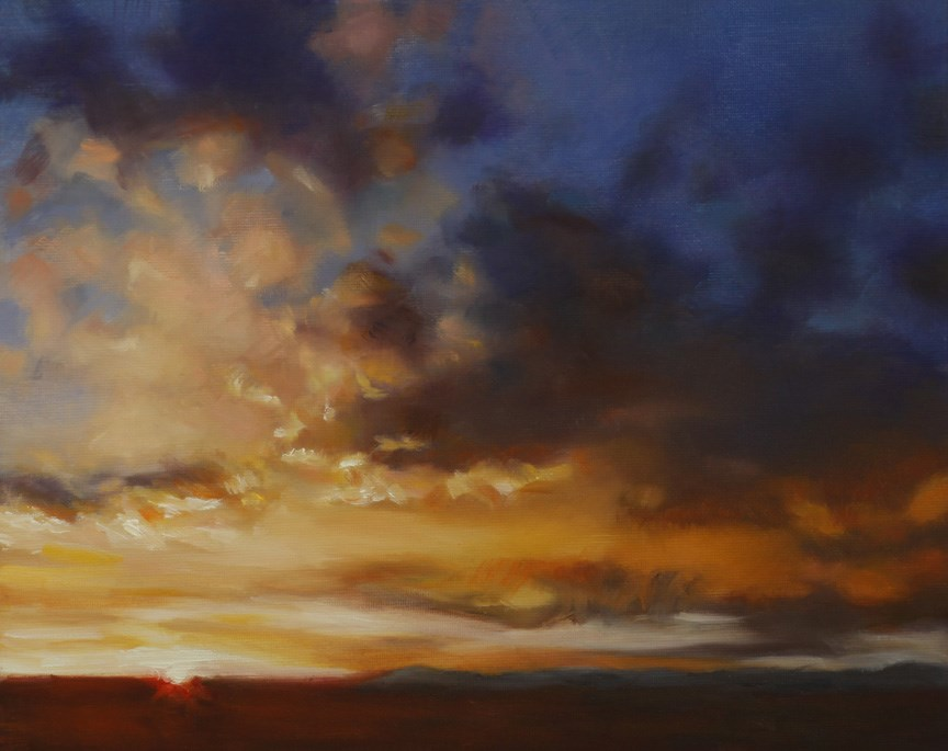 """Prairie Sunset (framed)"" original fine art by Pamela Poll"