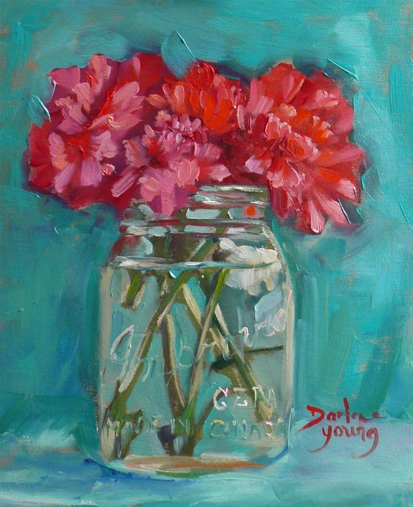 """835 Pink Carnations, 8x10, oil on board"" original fine art by Darlene Young"