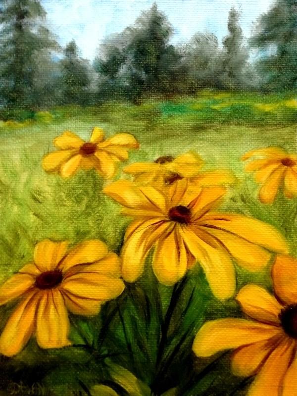 """Black Eyed Susan's In The Garden"" original fine art by Dalan Wells"