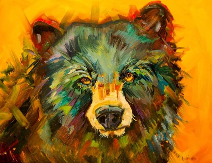 """ARTOUTWEST BEAR ANIMAL WILDLIFE ART OIL PAINTING BY DIANE WHITEHEAD"" original fine art by Diane Whitehead"