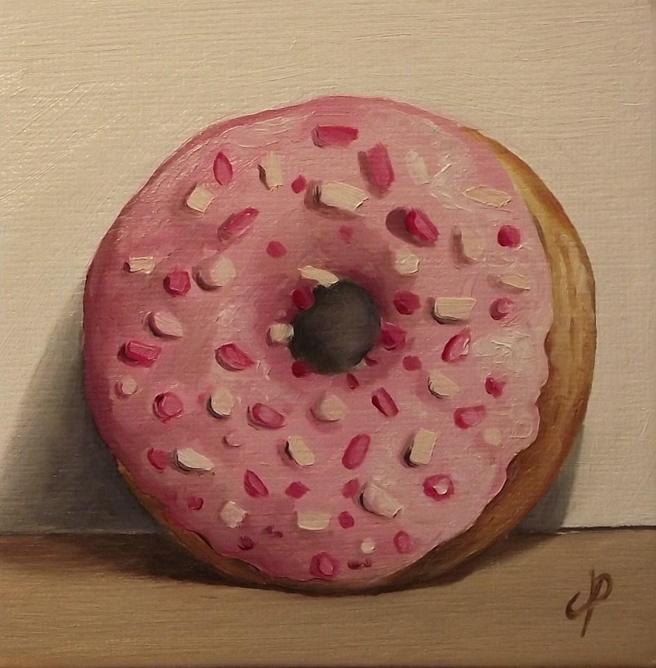 """Strawberry Doughnut"" original fine art by Jane Palmer"