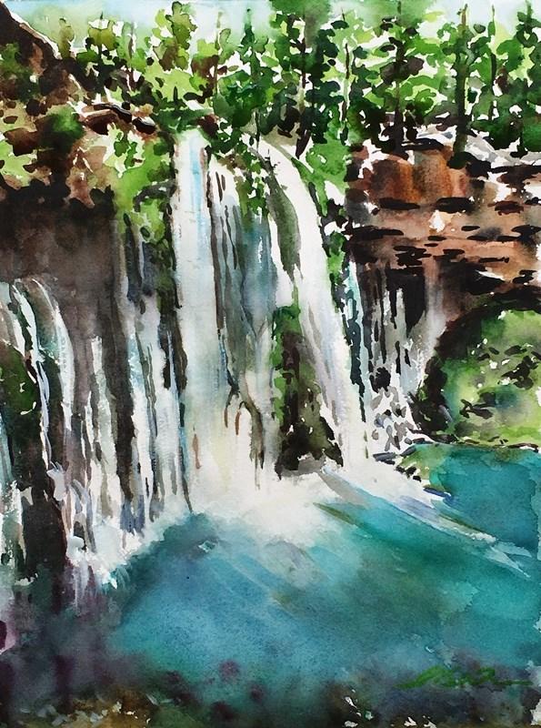 """McArthur-Burney Falls, CA"" original fine art by Lisa Fu"