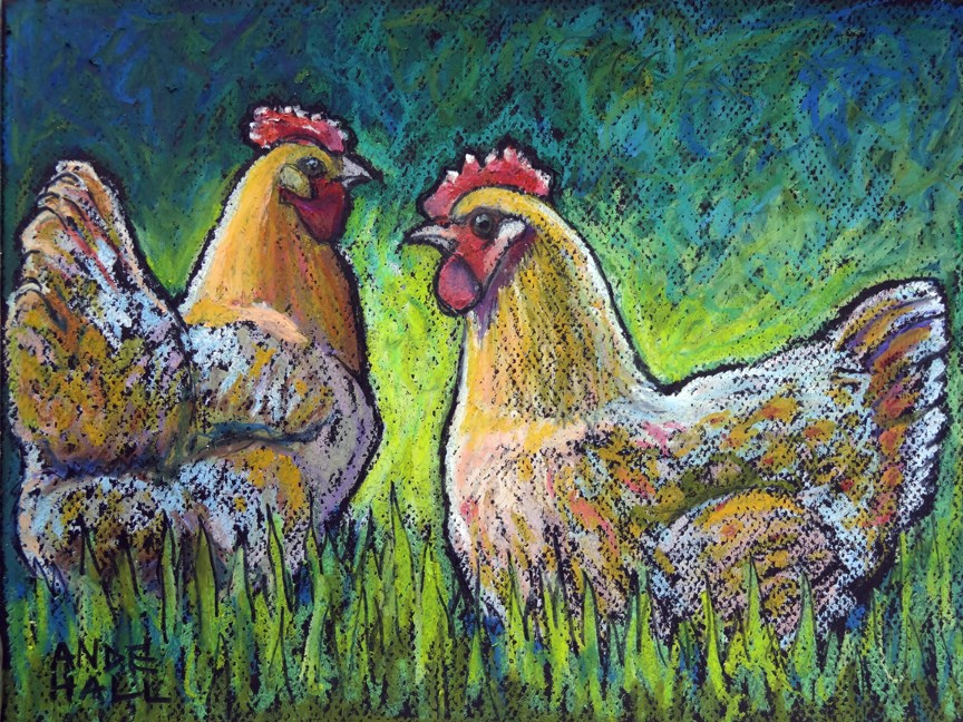 """Buff Orpington Morning"" original fine art by Ande Hall"