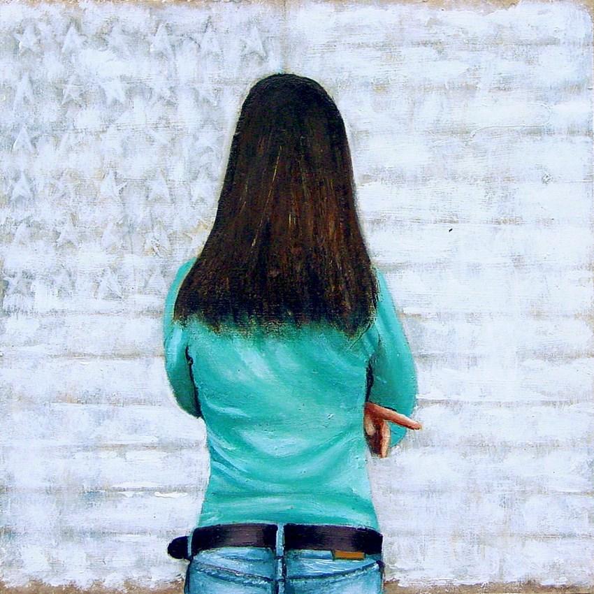 """White Flag- Painting Of Woman Enjoying American Flag Painting By Jasper Johns"" original fine art by Gerard Boersma"