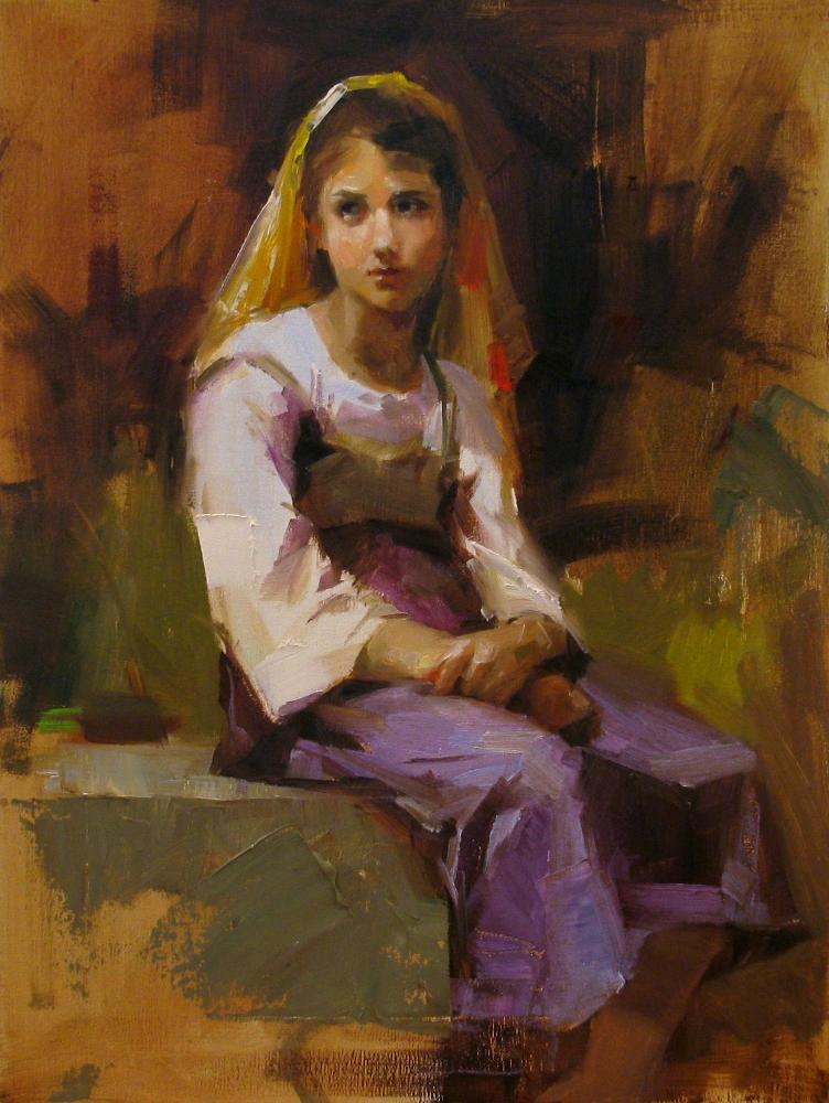 """""""""""Bouguereau study 1"""" original fine art by Qiang Huang"""