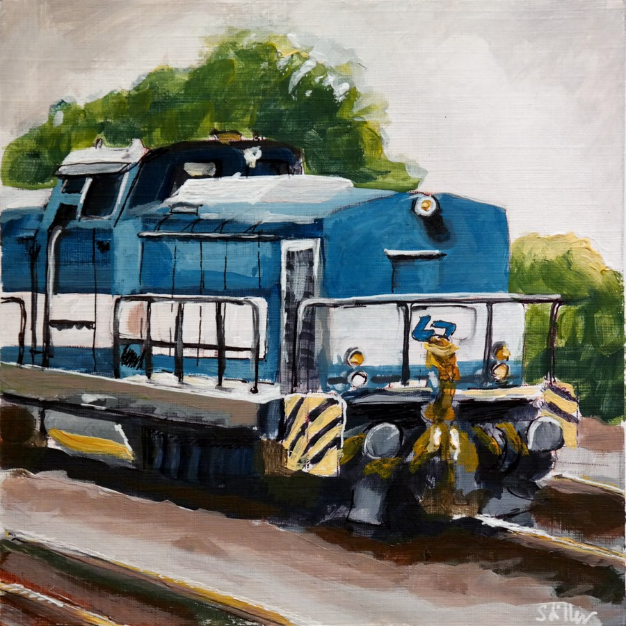 """2009 Blue Locomotive"" original fine art by Dietmar Stiller"
