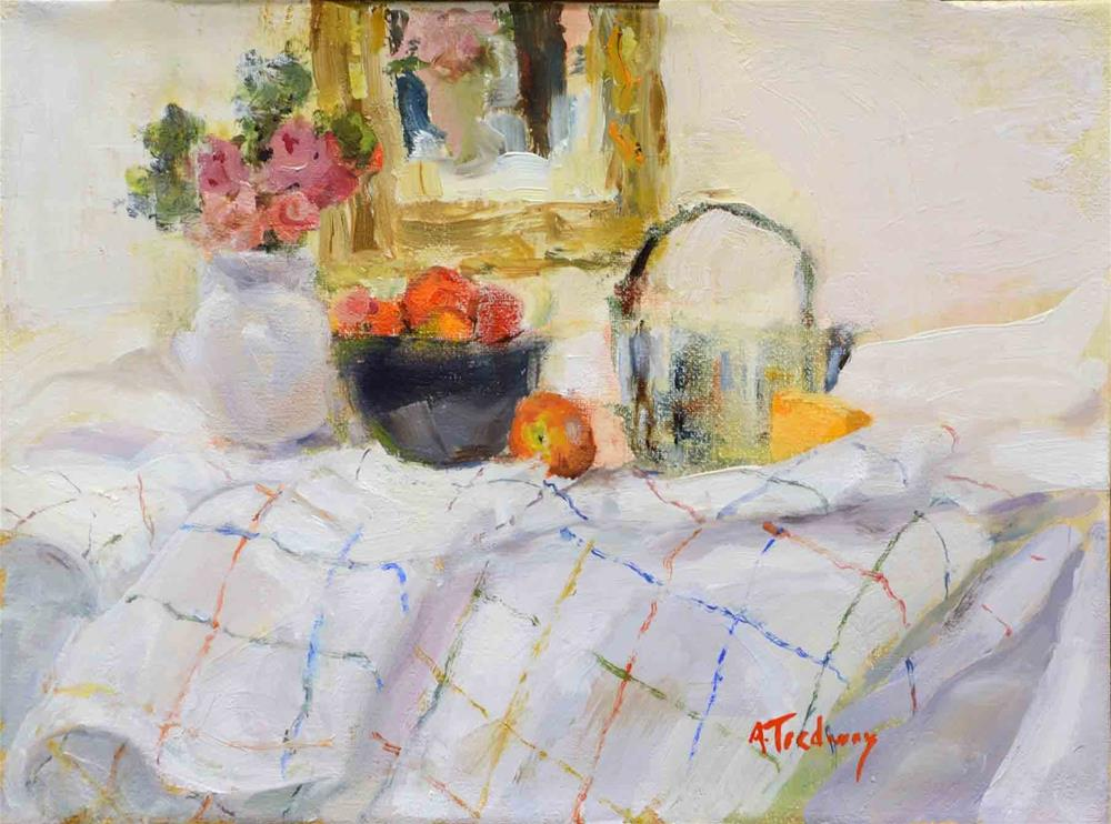 """Set up with Checked Tablecloth & Painting"" original fine art by alicia tredway"
