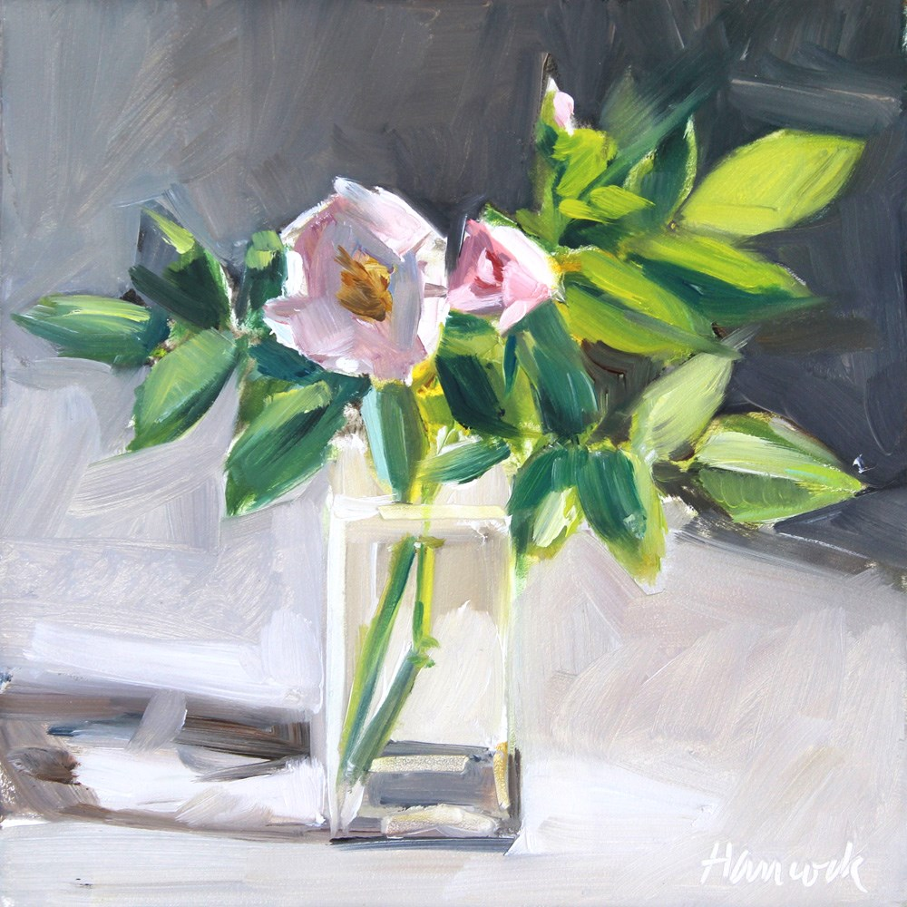 """Rose in Side Light"" original fine art by Gretchen Hancock"
