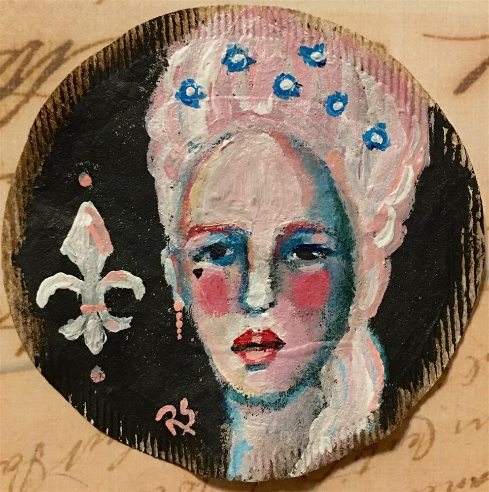 """Tea Bag Portrait - Antonia"" original fine art by Roberta Schmidt"
