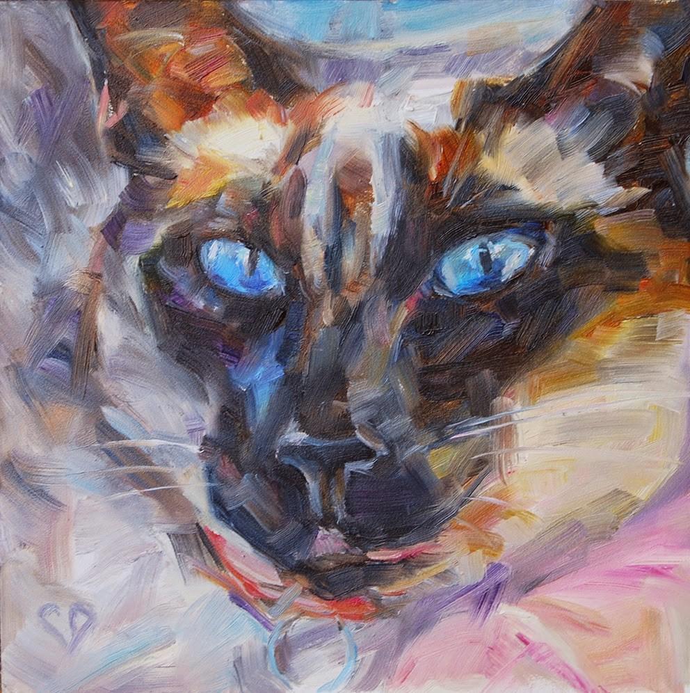 """I Am Not Amused - Siamese Cat , Original Oil by Carol DeMumbrum"" original fine art by Carol DeMumbrum"