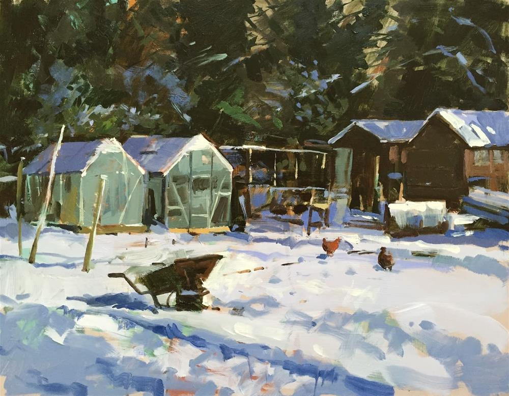 """Snowy new homes"" original fine art by Haidee-Jo Summers ROI"