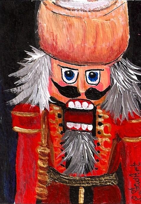 """""""ACEO Nutcracker Painting Open Wide Wooden Guy Christmas Art Penny StewArt"""" original fine art by Penny Lee StewArt"""