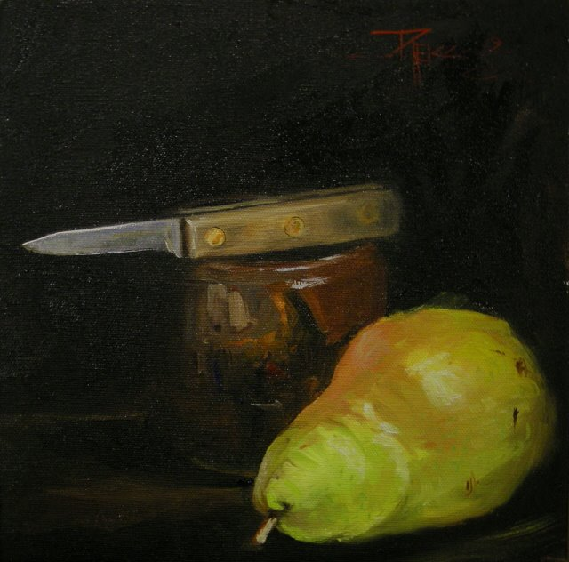"""Pear with Knife 2 still life oil painting"" original fine art by Robin Weiss"