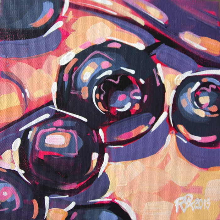 """Blueberry abstraction 12"" original fine art by Roger Akesson"