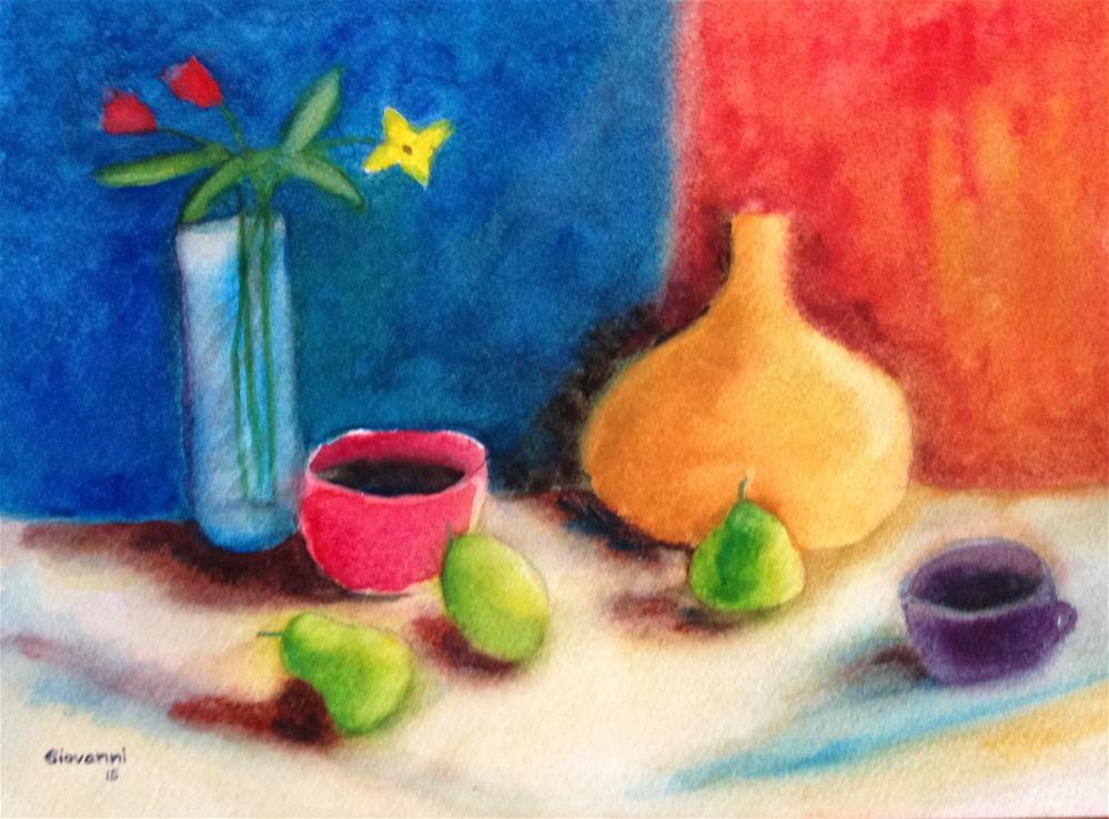 """""""Pears, flowers, and of course coffee"""" original fine art by Giovanni Antunez"""